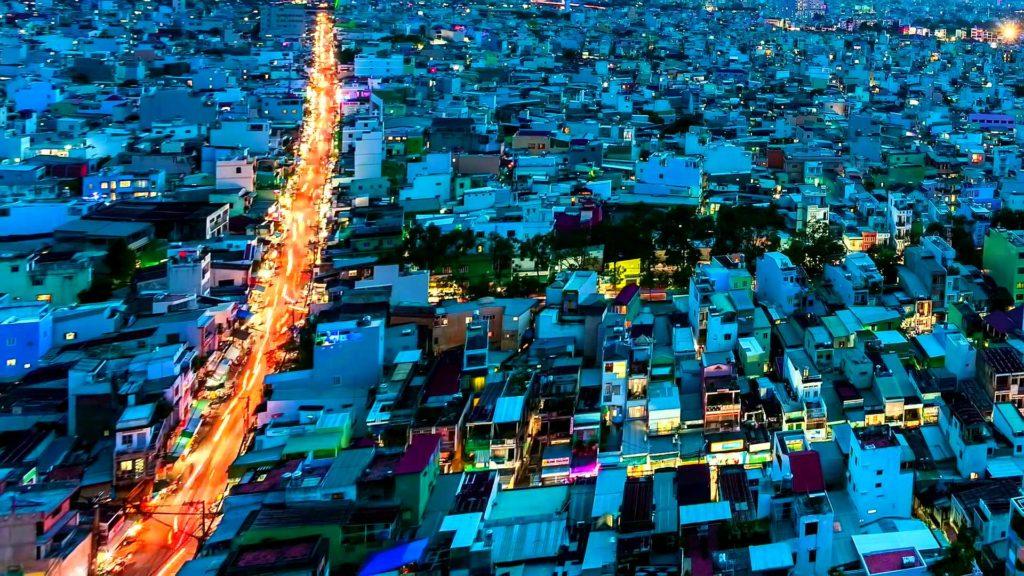 Вечерний город Вьетнама